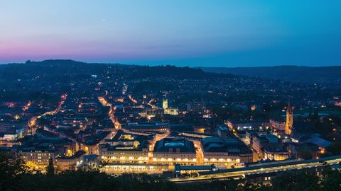 Bath, Somerset - Aerial Sunset Time Lapse (Day to Night) of Historic City