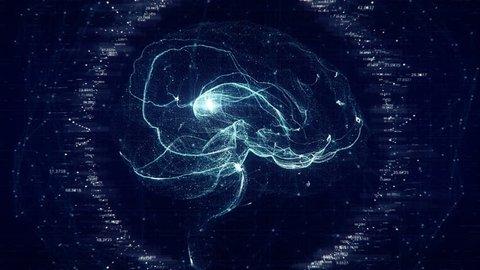 Futuristic Brain Scan. 4K UHD animation