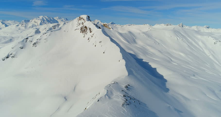 An aerial view over alps, in winter, Livigno, Italy, snow