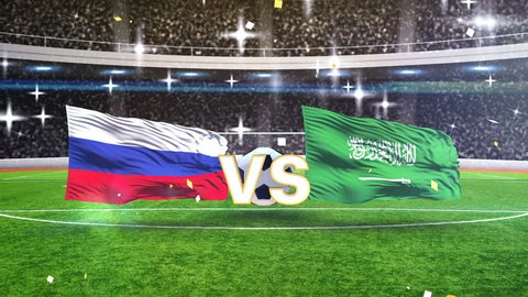 3D animation of Russia vs Saudi Arabia flags with soccer ball 2018