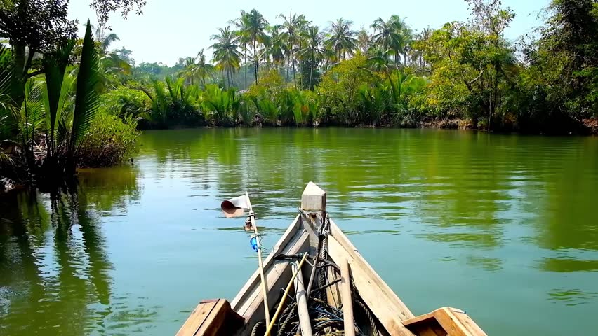 Kangy river is popular tourist destination for its lush mangrove forests, people enjoy kayak trips, watching wild nature, small fishing villages and beautiful landscapes, Myanmar.