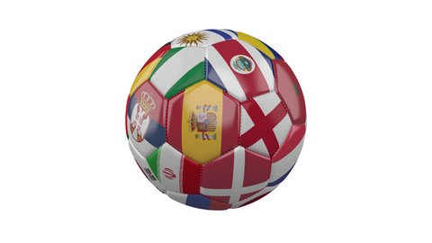 Rotating soccer ball with flags of the countries of the world on a transparent white background, 4k prores 4444 footage with alpha channel, loop