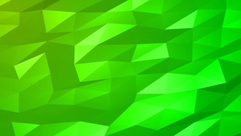 Loopable Abstract Green Low Poly 3D surface as CG background. Soft Polygonal Geometric Low Poly motion background of shifting Green polygons. 4K Fullhd seamless loop background render V94
