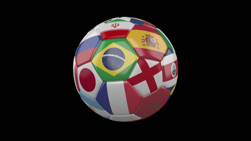 Rotating soccer ball with flags of the countries of the world on a transparent black background, 4k prores 4444 footage with alpha channel, loop