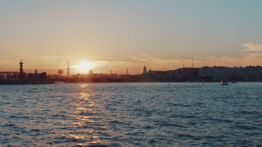 Saint-Petersburg. Sunset on the Neva river | Shutterstock HD Video #1011131015
