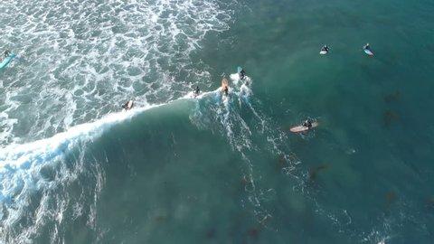 Surfers on Waves Aerial Shot of Malibu California
