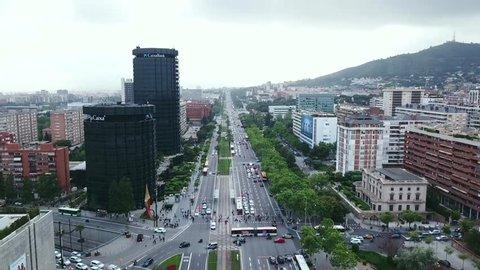 Barcelona, Spain - 10 May 2018: Aerial view to Avenida Diagonal and CaixaBank Skyscraper