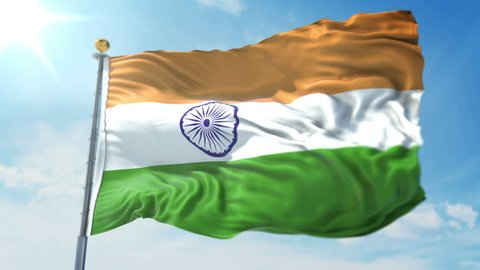 India flag seamless looping 3D rendering video. Includes isolated on green screen and alpha channel as luma matte for easy clipping in AE. Beautiful detailed fabric loop waving in the wind