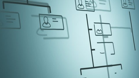 company organization chart scrolling on screen, hand drawn style (3d render)