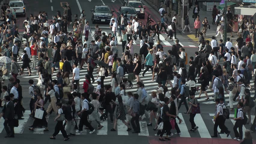 SHIBUYA,  TOKYO,  JAPAN - CIRCA MAY 2018 : Scenery of SHIBUYA around big scramble crossing in summer. #1011204635
