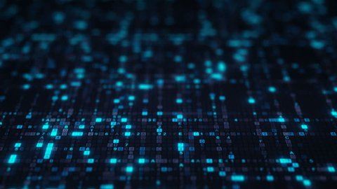Blue hexadecimal digit code. Futuristic big data information technology concept. Seamless loop animation rendered with DOF 4k (4096x2304)