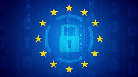 GDPR - General Data Protection Regulation motion background. Seamless loop. Video animation Ultra HD 4K 3840x2160