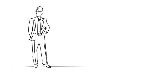 Self drawing animation of continuous line drawing of - construction engineer