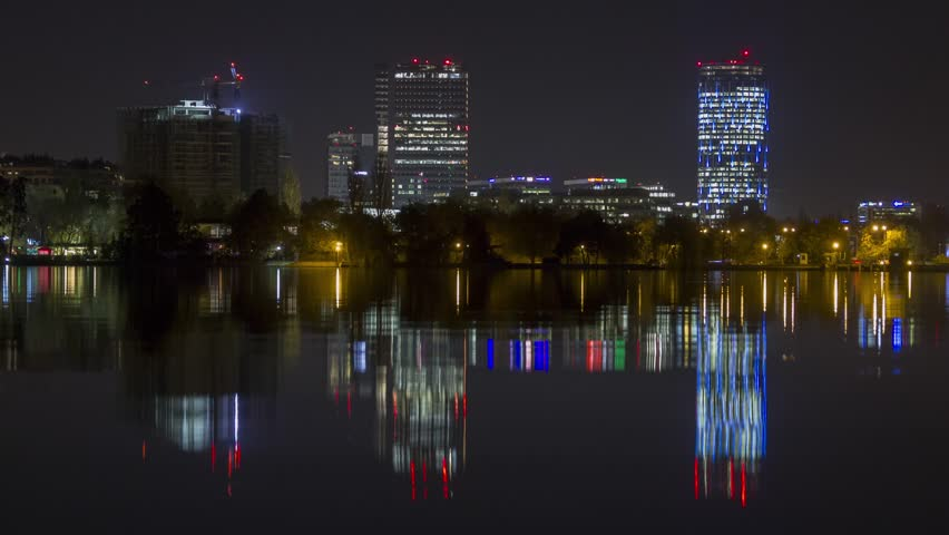 Bucharest skyline with beautiful reflections