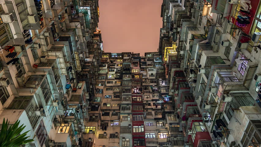 4k. Time lapse of old apartment with Moving Cloud in Hong Kong of China | Shutterstock HD Video #1011313985
