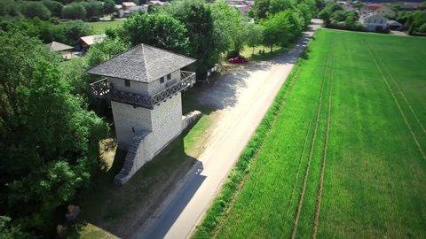 Limes watchtower in near Eichstätt, Bavaria, Germany.