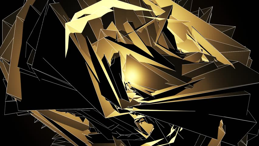 Beautiful Abstract Gold Polygonal Surface Moving Animation. Dark Triangles Motion On The Black Background. Three Variations. | Shutterstock HD Video #1011334775