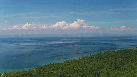 Aerial sviewof Baikal lake 4k