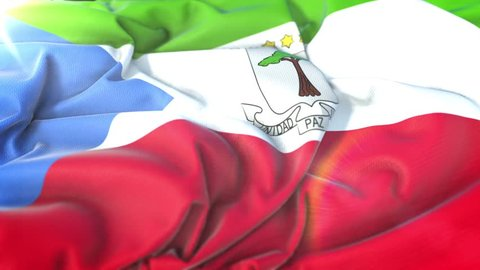 Equatorial Guinea flag.Flag of Equatorial Guinea Beautiful 3d animation of Equatorial Guinea flag in loop mode.Equatorial Guinea flag animation