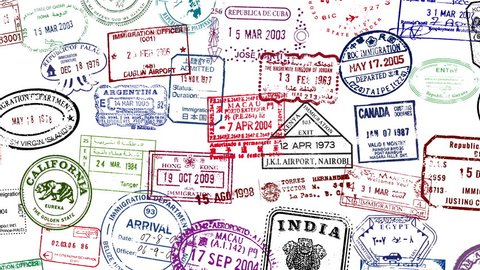Passport stamps animating on screen