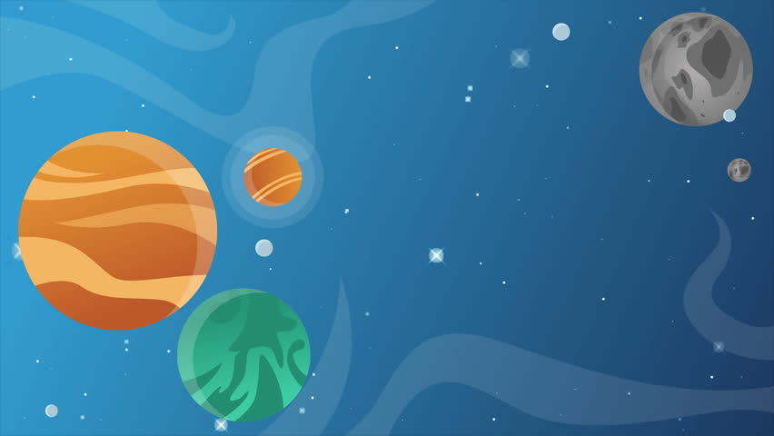 Stars in space with animated cartoon objects on blue background   Shutterstock HD Video #1011394685