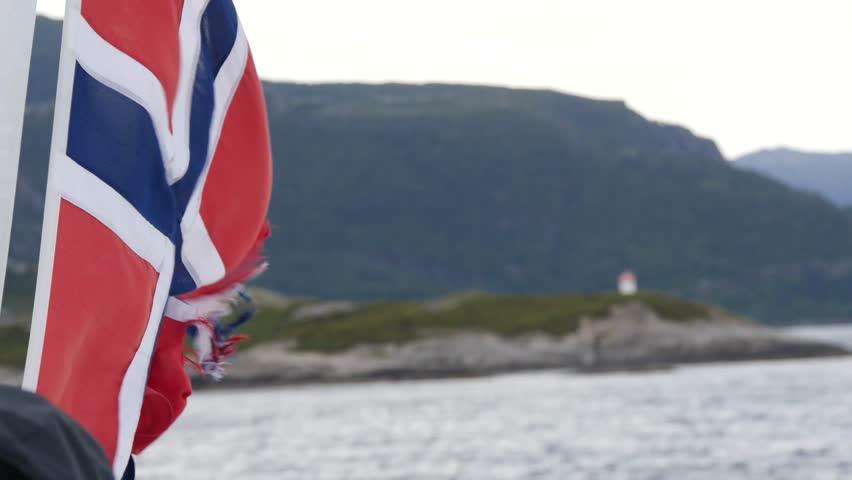 Norwegian flag in the wind