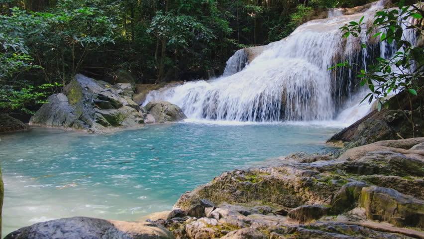 Erawan waterfall in Deep forest  with beautiful, Kanchanaburi Province, Thailand.