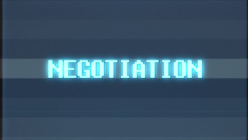 Retro videogame NEGOTIATION text with computer/tv glitch effect | Shutterstock HD Video #1011427025