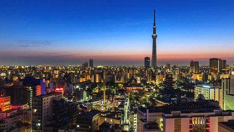4k. Time lapse view sunrise of tokyo city and sensoji-ji, temple in asakusa, Japan asia is a famous place in Japan