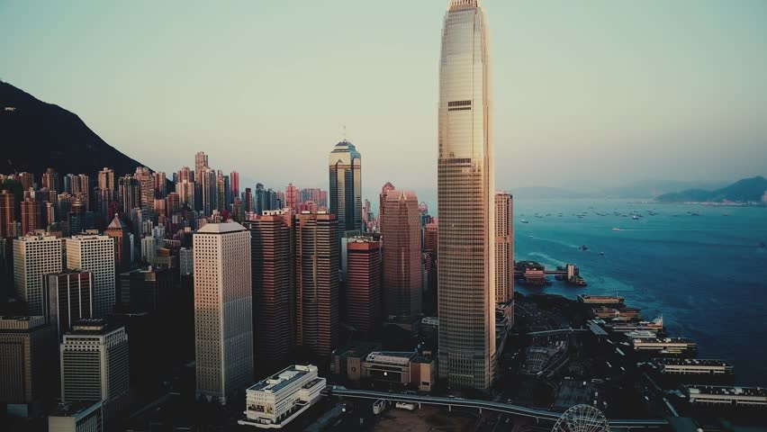 AERIAL. Cinematic hight contrast video. top view of Hong Kong city | Shutterstock HD Video #1011441185