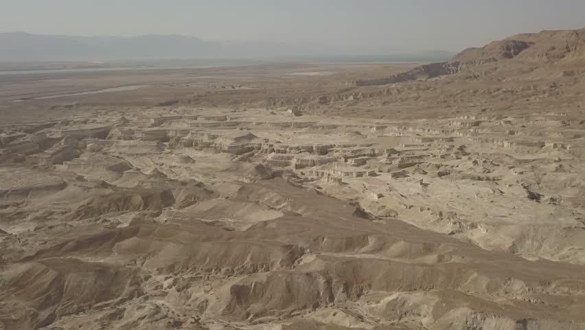 Dead sea desert 4k aerial view ungraded flat | Shutterstock HD Video #1011483155