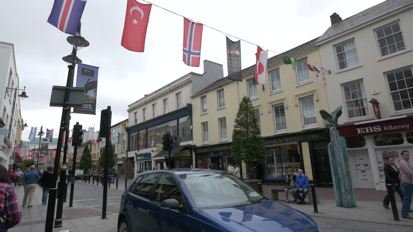 Killarney - May, 2016: Busy street in the city center of Killarney, Ireland