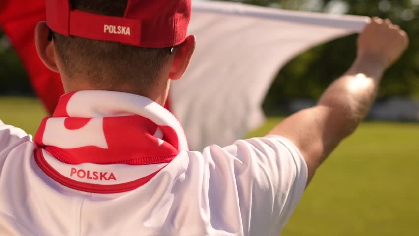 Polish Football Fan with National Flag in Slow Motion | Shutterstock HD Video #1011498755