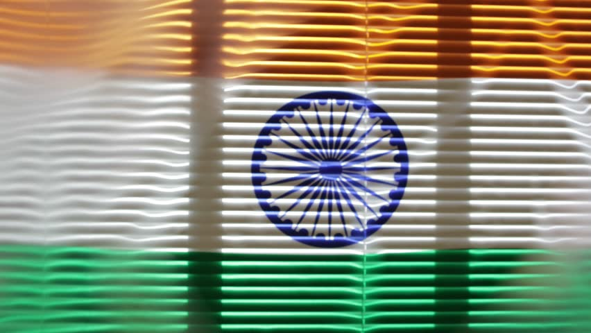 Indian flag waving at jalousie window. | Shutterstock HD Video #1011502985