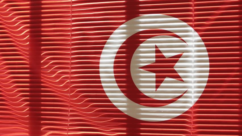 Hanging Tunisian flag at wide jalousie window. #1011503045