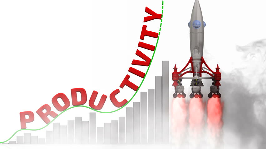 The graph of productivity growth. Graph of rapid growth with red word PRODUCTIVITY and rocket launch. | Shutterstock HD Video #1011528125