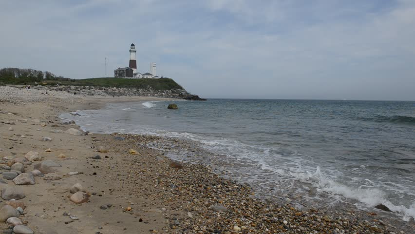 Coastal Scene With Montauk Lighthouse Stock Footage Video 100