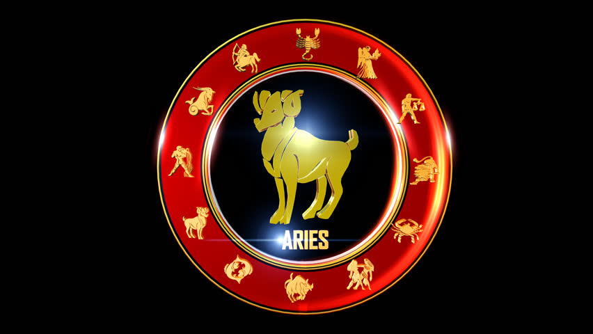 Aries  Zodiac sign   It`s Nice rotating 3d golden Zodiac sign (Indian astrology) with transparency