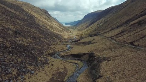 aerial 4k footage of beautiful valley and river in mountains. Glenveagh national park in Ireland