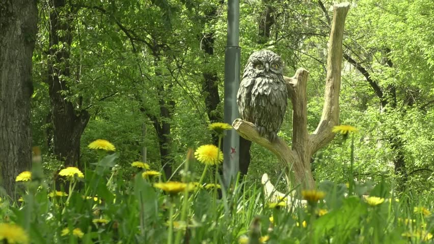 Wooden Owl Figure in the city park