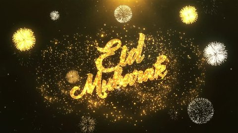 Eid Mubarak Greeting Card text Reveal from Golden Firework & Crackers on Glitter Shiny Magic Particles & Sparks Night star sky for Celebration, Wishes, Events, Message, holiday, festival