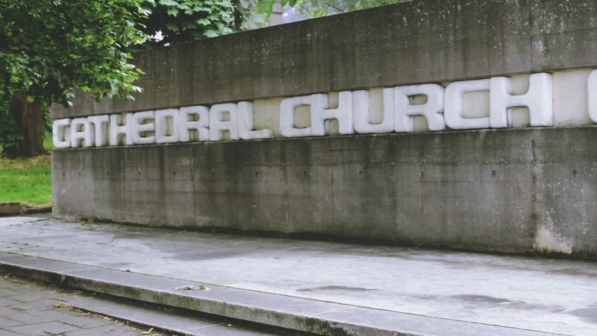 Exterial Wall Of Clifton Cathedral Showing The Name Ss. Peter And Paul Carved In The Wall