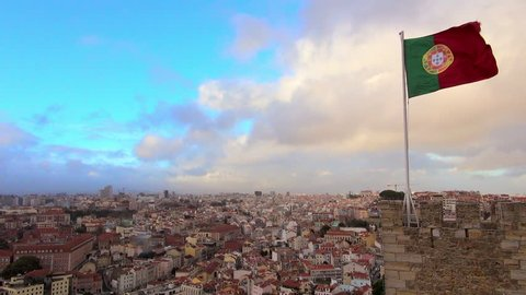 Lockdown: Flag of Portugal on Top of Castle Tower