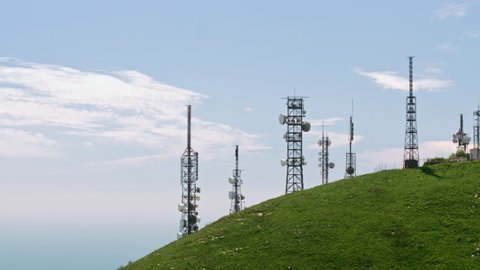 aerial view of telecom antennas telecommunications towers