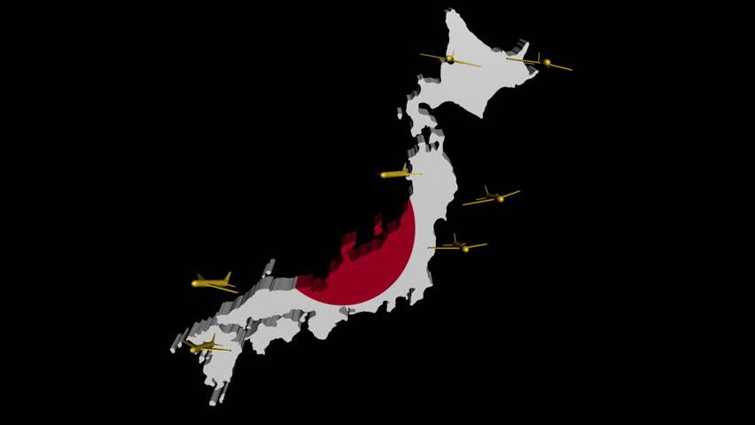 Fluttering Japan Map Flag Animation Stock Footage Video - Japan map flag