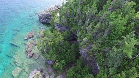 Aerial revealing shot of Georgian Bay's Bruce Peninsula in Canada