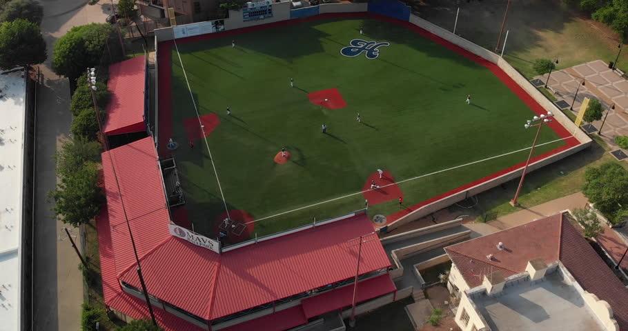 Dallas, Texas / USA - May 19, 2018: Aerial view of a Baseball Game at the Mavs Ballpark