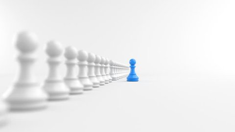 Leadership concept, blue pawn of chess, standing out from the crowd of white pawns, on white background