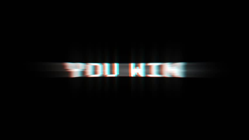 YOU WIN Glitch Text Animation (3 Versions with Alpha Channel), Old Gaming Console Style, Rendering, Background, Loop, 4k    Shutterstock HD Video #1011731105