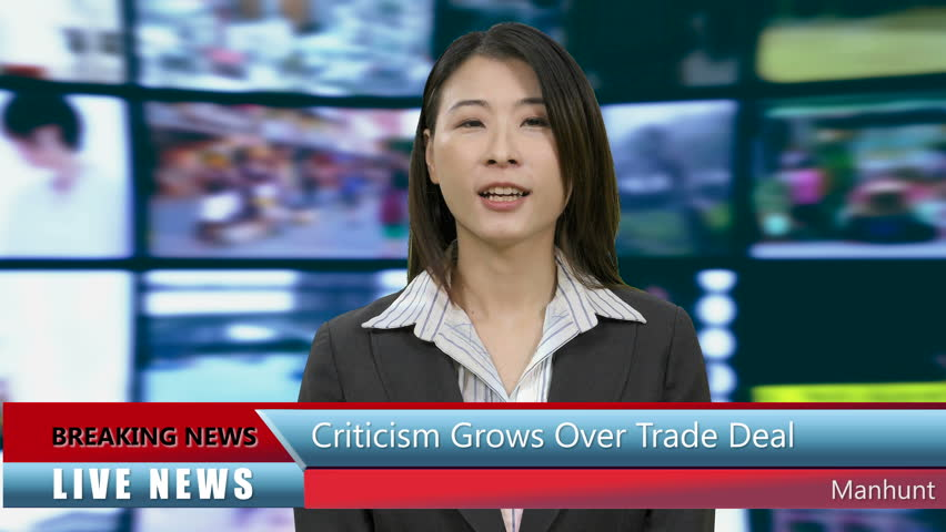 Chinese Asian American news anchorwoman in studio with lower thirds | Shutterstock HD Video #1011741005